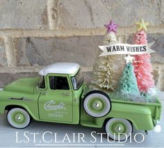 1958 Chevy Apache Stepside Diecast Truck with Bottle Brush Trees Christmas Truck, Mini Christmas Tree, Merry Little Christmas, Pink Christmas, Christmas Deco, Country Christmas, Winter Christmas, Christmas Crafts, Xmas