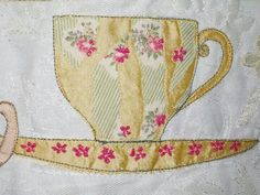 Embroidered teacup by Sue Bibby