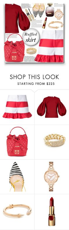 """Ruffled Skirt!!"" by stylediva20 ❤ liked on Polyvore featuring Goen.J, Rosie Assoulin, KAROLINA, Love Moschino, Shay, Jennifer Chamandi, Kate Spade, Vita Fede, Nina Ricci and Victoria's Secret"