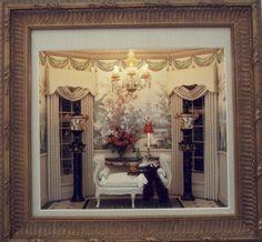 Brooke Tucker Put-About #7 White bench chandelier dollhouse miniature