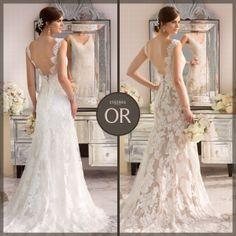 Essense of Australia Style D1639. Vintage lace over Lustre satin with different color options. #EssenseBride #WeddingDress