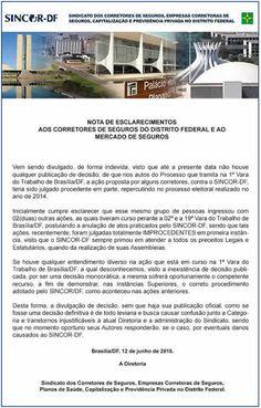 Nota de esclarecimentos aos corretores de seguros do Distrito Federal e ao Mercado de Seguros | Segs.com.br-Portal Nacional|Clipp Noticias para Seguros|Saude