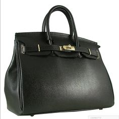 e21f43e7 CARBOTTI BIRKIN STYLE 35CM BLACK LEATHER BAG Features short double handles  and a leather strip closed