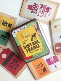 Vintage stickers , travel vintage stickers , scrapbooking , travel tag. $7.00, via Etsy.  table identifiers