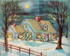 Beautiful Vintage Christmas Card, snowy view of cozy Home Images Vintage, Vintage Christmas Images, Old Christmas, Old Fashioned Christmas, Christmas Scenes, Retro Christmas, Vintage Holiday, Christmas Pictures, Christmas Windows