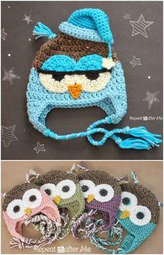 Crochet Drowsy Owl Hat Pattern - Repeat Crafter Me Crochet Animal Hats, Crochet Owl Hat, Bonnet Crochet, Easy Crochet Hat, Crochet Baby Hat Patterns, Crochet Kids Hats, Booties Crochet, Motifs Beanie, Crochet Character Hats