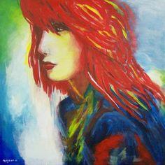 Handgeschilderd op doek. 70x70 meisje met rood haar Margriet