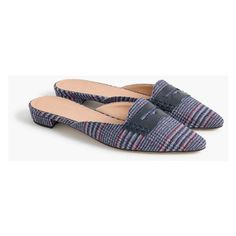 J.Crew Tweed Loafer Mules ($130) ❤ liked on Polyvore featuring shoes, cocktail shoes, synthetic shoes, mule loafers, loafer shoes and special occasion shoes