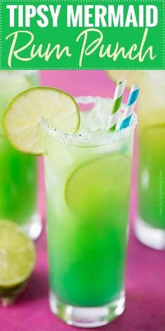 8 oz spiced rum (like Captain Morgan) 4 oz coconut rum 24 oz pineapple juice 2 oz fresh lime juice splash of blue curacao lime slices, for garnish light corn syrup, for garnish Drink Party, Party Drinks Alcohol, Liquor Drinks, Alcohol Drink Recipes, Rum Punch Recipes, Green Alcoholic Drinks, Beverages, Alcoholic Punch Recipes, Adult Punch Recipes