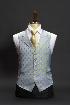 Blue silk base waistcoat with gold bees and lapels 042 Double Breasted Waistcoat, Business Casual Men, Men Casual, Indian Men Fashion, Mens Fashion, Wedding Waistcoats, Pakistani Kurta, Morning Suits, Vintage Clothing