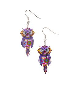 Love this Purple Owl Drop Earrings on #zulily! #zulilyfinds