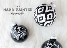 DIY Hand Painted Ornaments - Saffron Avenue  #Christmas #monochromatic