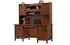 "66"" Flattop Desk and 63"" Hutch 66.5W x 27D x 68H Finish: Classic Cherry  GW166F"