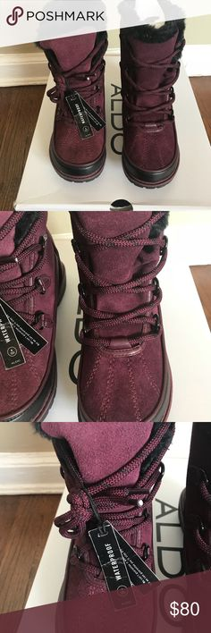 Aldo winter boots Great boots for bad weather conditions . Waterproof . They are still selling at Aldo for its original price of  $120. Brand new in a box .  One of the pictures has a detailed description. The color is Bordeaux. Aldo Shoes Winter & Rain Boots