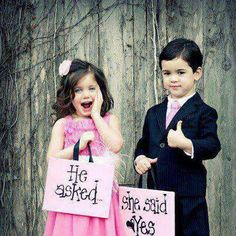 "Cute flower girl and ring bearer idea! Would be cute for the ""I DO, TAKE 2"" saying Visit http://www.brides-book.com for more great wedding resources"