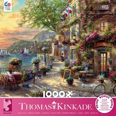 This Ceaco Puzzle features Thomas Kinkade's French Riviera Cafe. A corner café in the French Riviera with very colorful surroundings. x puzzle size when completed. Made in the USA. Thomas Kinkade Puzzles, Tropical Greenhouses, Kinkade Paintings, Cedar Point, Puzzle 1000, Treasure Island, French Riviera, 1000 Piece Jigsaw Puzzles, Cool Art