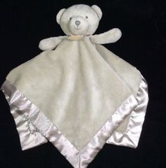 Carters Tan My First Bear Security Baby Blanket Velour Satin Lovey Rattle #Carters