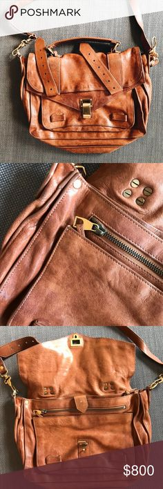 Authentic Proenza Schouler Medium Ps1 Medium Brown Proenza. Has a small stain (see pic) and the leather in the back has signs of use (hence the price) but it still has a lot of life! Love this bag but I don't wear it anymore. Proenza Schouler Bags Satchels