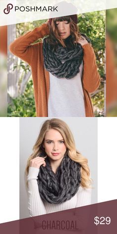 fa6db03a028e Charcoal Braided Chunky Scarf Ultra Soft Chunky braided Infinity Scarf This  reminds me of those really