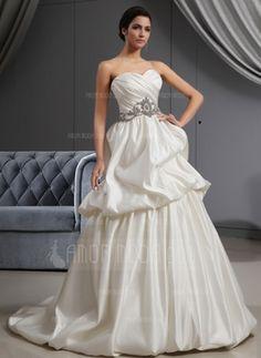 A-Line/Princess Sweetheart Sweep Train Satin Wedding Dress With Ruffle Beading #wedding #dress