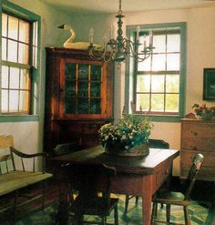 Nice Prim Dining... blue green the color of my kitchen beams and ceiling !