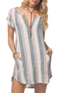 Free shipping and returns on Rip Curl Beachcomber Dress at Nordstrom.com. <p>Sun-faded stripes and whipstitched trim add Southwestern vibes to this breezy cotton shift dress that will look right at home out on the dunes.</p>