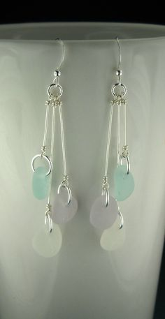 Sea Glass Earrings Sterling Silver And Pastels by seaglassgems4you