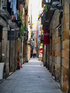 "Typical street in ""El Born"", one of Barcelona's old town districts, nearby Santa María del Mar, Barcelona 