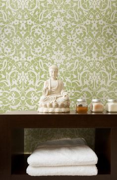Lacy green stenciling on wall. Moroccan Stencils | Arabesque Stencil | Royal Design Studio