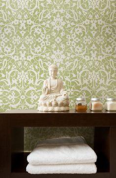 Lacy green stenciling on wall. Moroccan Stencils | Arabesque Stencil | Royal Design Studio