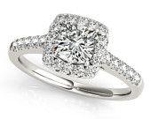 Cushion Halo Diamond Engagement Ring in 14k White Gold, Cushion Cut Engagement Ring, Cushion Engagement Ring