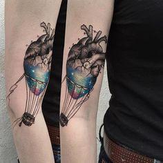 Anatomical heart as galaxy hot air balloon tattoo by Daria Stahp. #DariaStahp #hotairballoon #overlay #anatomicalheart #galaxy