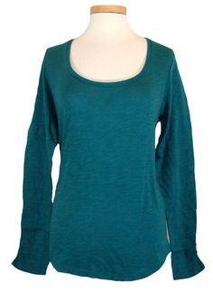 Lucky Brand Womens Shirt AMBER Top Scoopneck Slub Cotton Teal Blue Sz S NEW NWT #LuckyBrand #KnitTop #Casual