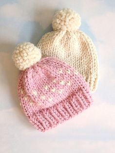 Children's winter hat / chunky knit hat with by StitchingIsland