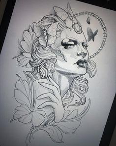Blackwork, Demon Tattoo, Arm Tattoo, Portrait Sketches, Art Drawings Sketches, Tattoo Design Drawings, Tattoo Designs, Face Tattoos For Women, Traditional Tattoo Art