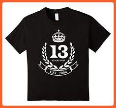 Kids Established 2004 Classic Crest 13th Birthday 13 Years Old T- 6 Black - Birthday shirts (*Partner-Link)