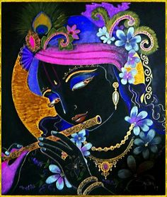 Krishna bhajan Krishna Radha, Lord Krishna, Krishna Lila, Indian Gods, Indian Art, Shiva, Krishna Painting, Hindu Deities, Sacred Art