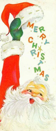 Vintage Christmas Card. Merry Christmas. Santa.