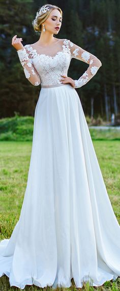 Fabulous Tulle & Chiffon Bateau Neckline A-Line Wedding Dress With Lace Appliques & Belt