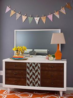 Revive a thrift store dresser with a splash of pattern. More furniture projects: http://www.bhg.com/decorating/makeovers/furniture/furniture-projects/?socsrc=bhgpin110913patterndresser&page=3