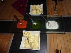 Herb butter, cocktail sauce, salsa verde, curd dip @ Restaurant Trais Portas