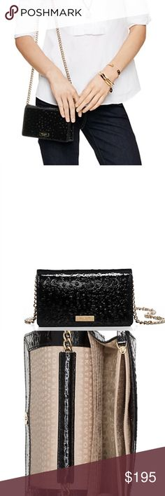 Kate Spade Isabeli Crossbody Bag Take your accessories game to the next level with this gorgeous Kate Spade bag made of ostrich embossed patent leather.   Details:  NWT. Retails around $275. Crossbody style with a snap closure, interior zipper pocket, six credit card slots and 14-karat light gold plated hardware.  Kate Harrington Boutique does not trade or negotiate price in the comment section. However, for most items we may consider reasonable offers.   Happy Poshing! kate spade Bags…