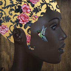 "Slava Fokk-""Hummingbird"" Oil on wood,gold leaf 17""x17"" (43x43cm) 2016"