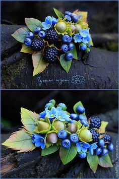 """Купить Комплект украшений """"Лето в лесу"""" - голубой, синий, зеленый, черный, ежевика, черника, орешки"""