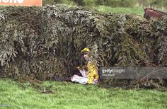 Jockey, Charlie Swan lands in a hedge after his horse, Him of Praise decides not to jump during the 1998 Martell Grand National held at Aintree, Liverpool, England. Horse Racing Books, Charlie Swan, Tally Ho, Liverpool England, Types Of Horses, Grand National, Hedges, Cross Country, Fails