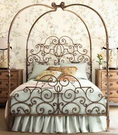 iron scroll canopy bed