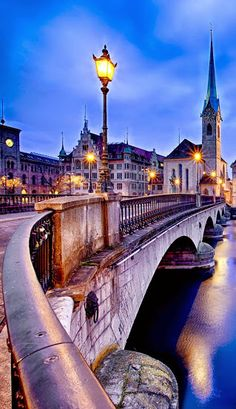 Fraumunster Church and Church of St. Peter at night, Zurich, Switzerland. by Atanu Mondal - Google+