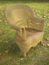 Rare Natural Antique Victorian Wicker Arm Chair Circa 1890's