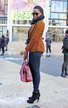 Winter Outfit Ideas From New York Fashion Week Fall 2013.  Slide 29 of 63 Outfit Idea: Pair a bold blazer with dark denim