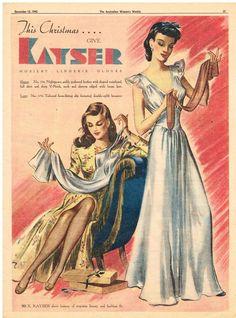 KAYSER LINGERIE AD HOSIERY  FASHION  Vintage Advertising 1945 Original Advert